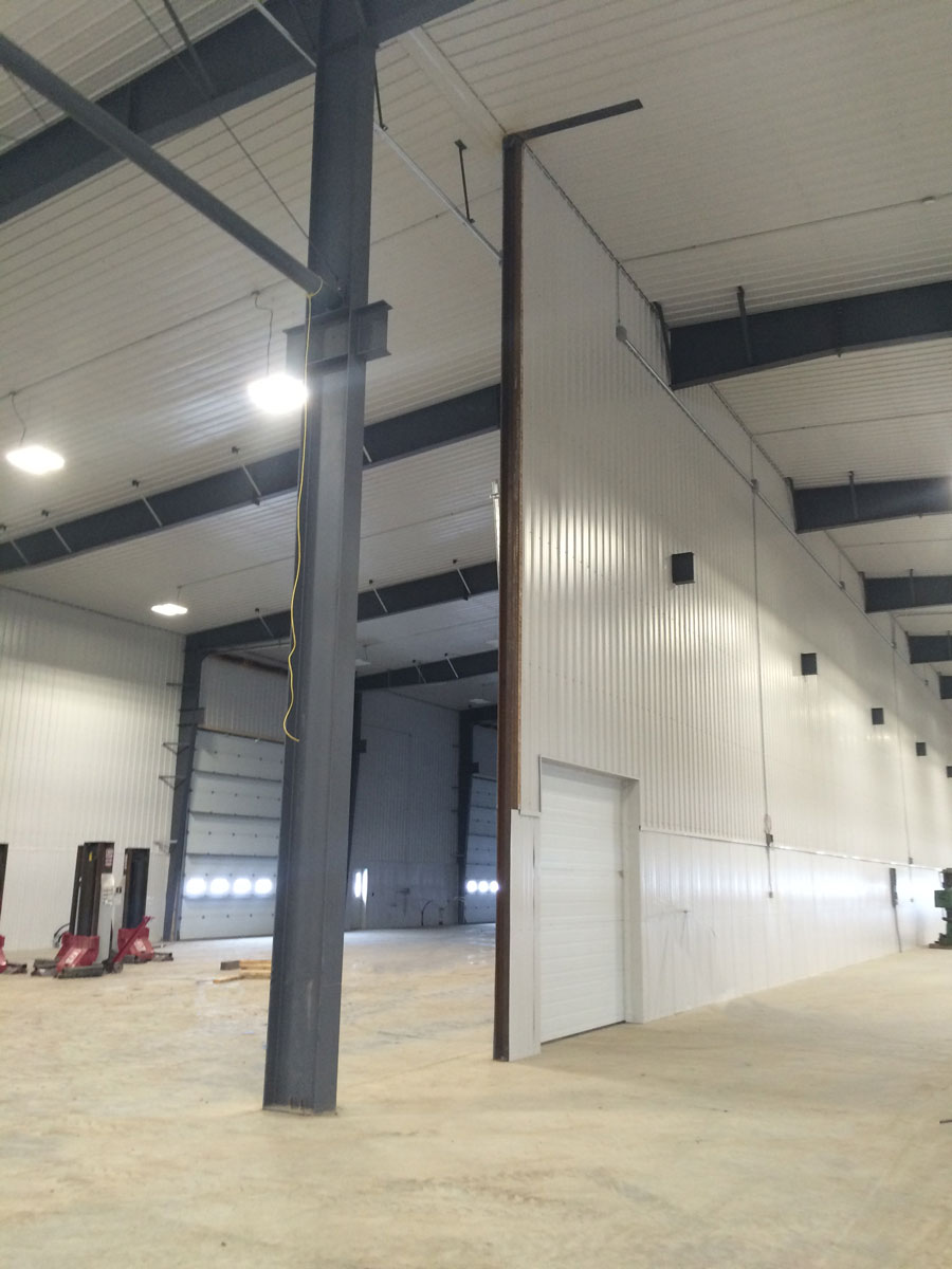interior of steel frame agricultural building